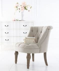 French House Petit Boutonné occasional chair - natural linen